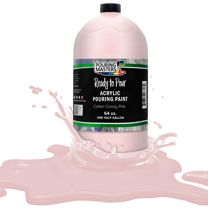 Cotton Candy Pink Acrylic Ready to Pour Pouring Paint Premium 64-Ounce Pre-Mixed Water-Based - for Canvas, Wood, Paper, Crafts, Tile, Rocks and More