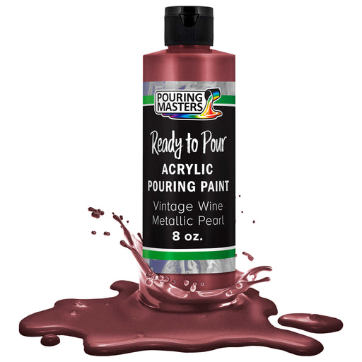 Vintage Wine Metallic Acrylic Ready to Pour Pouring Paint Premium 8-Ounce Pre-Mixed Water-Based - for Canvas, Wood, Paper, Crafts, Tile, Rocks and More