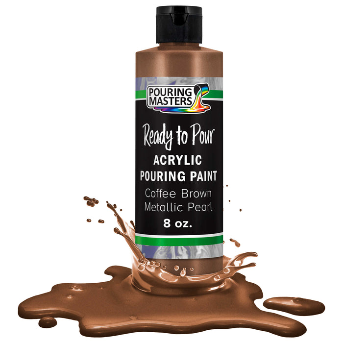Coffee Brown Metallic Acrylic Ready to Pour Pouring Paint Premium 8-Ounce Pre-Mixed Water-Based - for Canvas, Wood, Paper, Crafts, Tile, Rocks and More