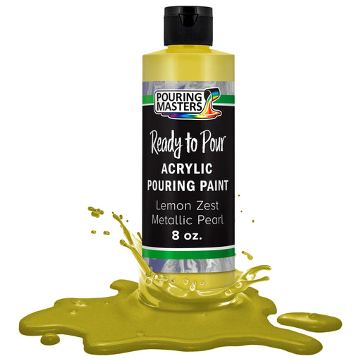 Lemon Zest Metallic Pearl Acrylic Ready to Pour Pouring Paint Premium 8-Ounce Pre-Mixed Water-Based - for Canvas, Wood, Paper, Crafts, Tile, Rocks and More