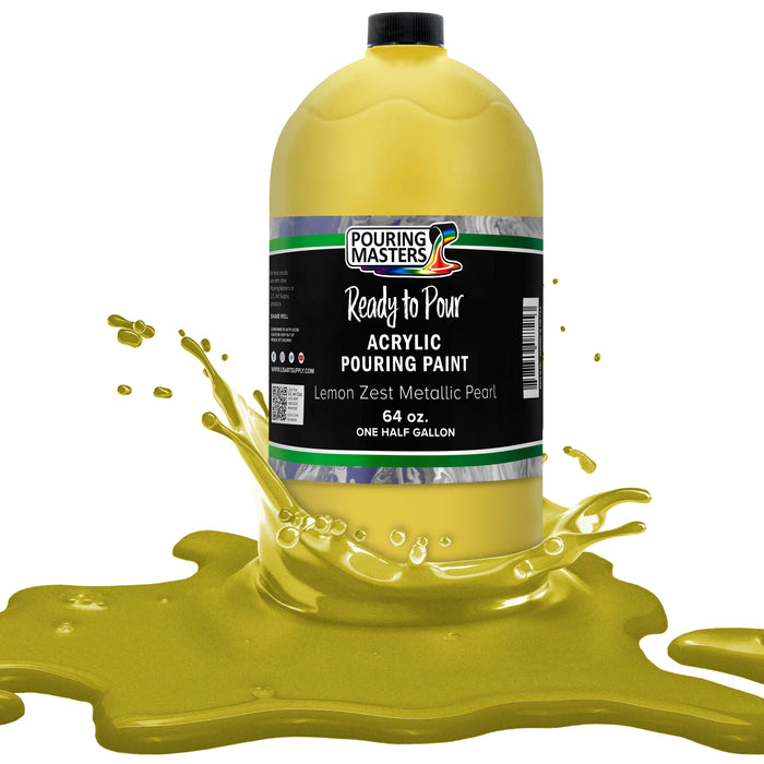 Lemon Zest Metallic Pearl Acrylic Ready to Pour Pouring Paint Premium 64-Ounce Pre-Mixed Water-Based - for Canvas, Wood, Paper, Crafts, Tile, Rocks and More