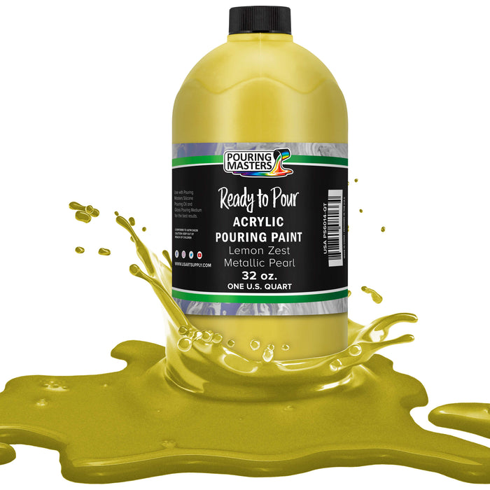 Lemon Zest Metallic Pearl Acrylic Ready to Pour Pouring Paint – Premium 32-Ounce Pre-Mixed Water-Based - for Canvas, Wood, Paper, Crafts, Tile, Rocks and More