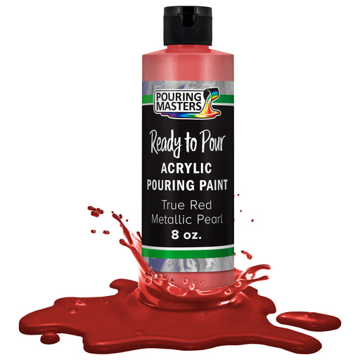 True Red Metallic Pearl Acrylic Ready to Pour Pouring Paint Premium 8-Ounce Pre-Mixed Water-Based - for Canvas, Wood, Paper, Crafts, Tile, Rocks and More