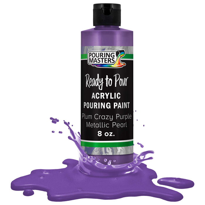 Plum Crazy Purple Metallic Pearl Acrylic Ready to Pour Pouring Paint Premium 8-Ounce Pre-Mixed Water-Based - for Canvas, Wood, Paper, Crafts, Tile, Rocks and More