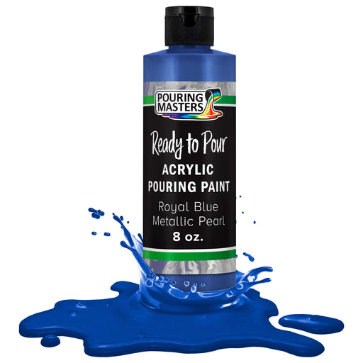 Royal Blue Metallic Pearl Acrylic Ready to Pour Pouring Paint Premium 8-Ounce Pre-Mixed Water-Based - for Canvas, Wood, Paper, Crafts, Tile, Rocks and More
