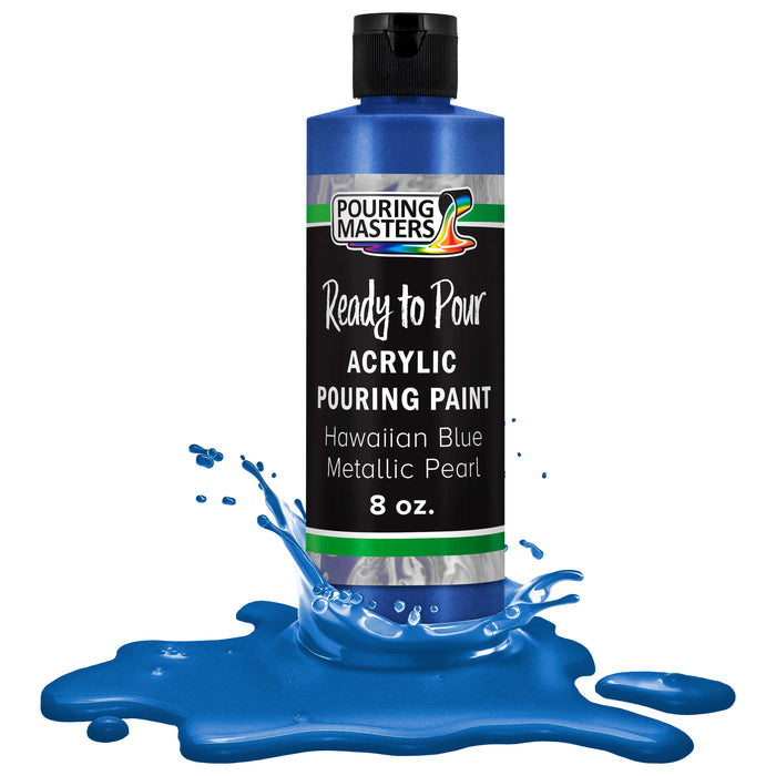 Hawaiian Blue Metallic Pearl Acrylic Ready to Pour Pouring Paint Premium 8-Ounce Pre-Mixed Water-Based - for Canvas, Wood, Paper, Crafts, Tile, Rocks and More