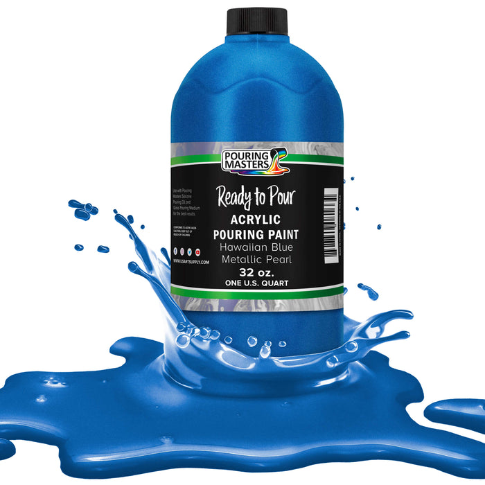 Hawaiian Blue Metallic Pearl Acrylic Ready to Pour Pouring Paint Premium 32-Ounce Pre-Mixed Water-Based - for Canvas, Wood, Paper, Crafts, Tile, Rocks and More