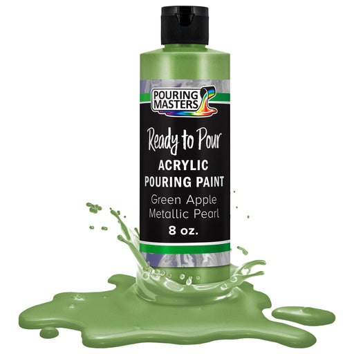 Green Apple Metallic Pearl Acrylic Ready to Pour Pouring Paint Premium 8-Ounce Pre-Mixed Water-Based - for Canvas, Wood, Paper, Crafts, Tile, Rocks and More