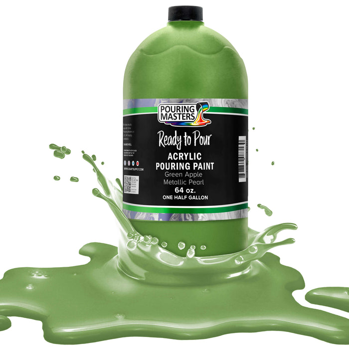 Green Apple Metallic Pearl Acrylic Ready to Pour Pouring Paint Premium 64-Ounce Pre-Mixed Water-Based - for Canvas, Wood, Paper, Crafts, Tile, Rocks and More
