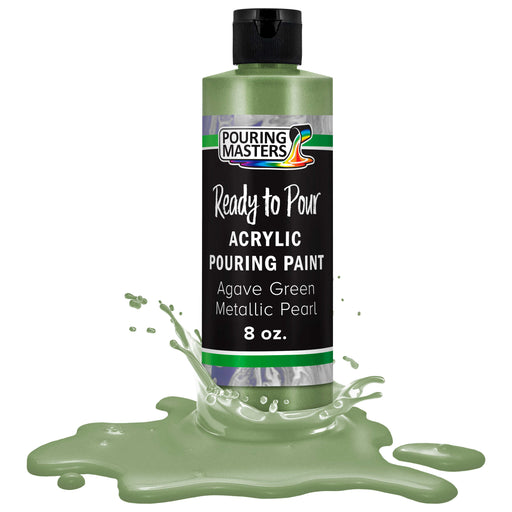 Agave Green Metallic Pearl Acrylic Ready to Pour Pouring Paint Premium 8-Ounce Pre-Mixed Water-Based - for Canvas, Wood, Paper, Crafts, Tile, Rocks and More