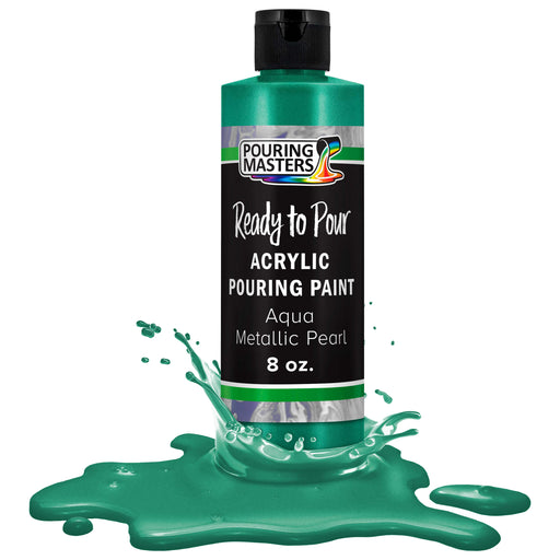 Aqua Metallic Pearl Acrylic Ready to Pour Pouring Paint - Premium 8-Ounce Pre-Mixed Water-Based - For Canvas, Wood, Paper, Crafts, Tile, Rocks and more