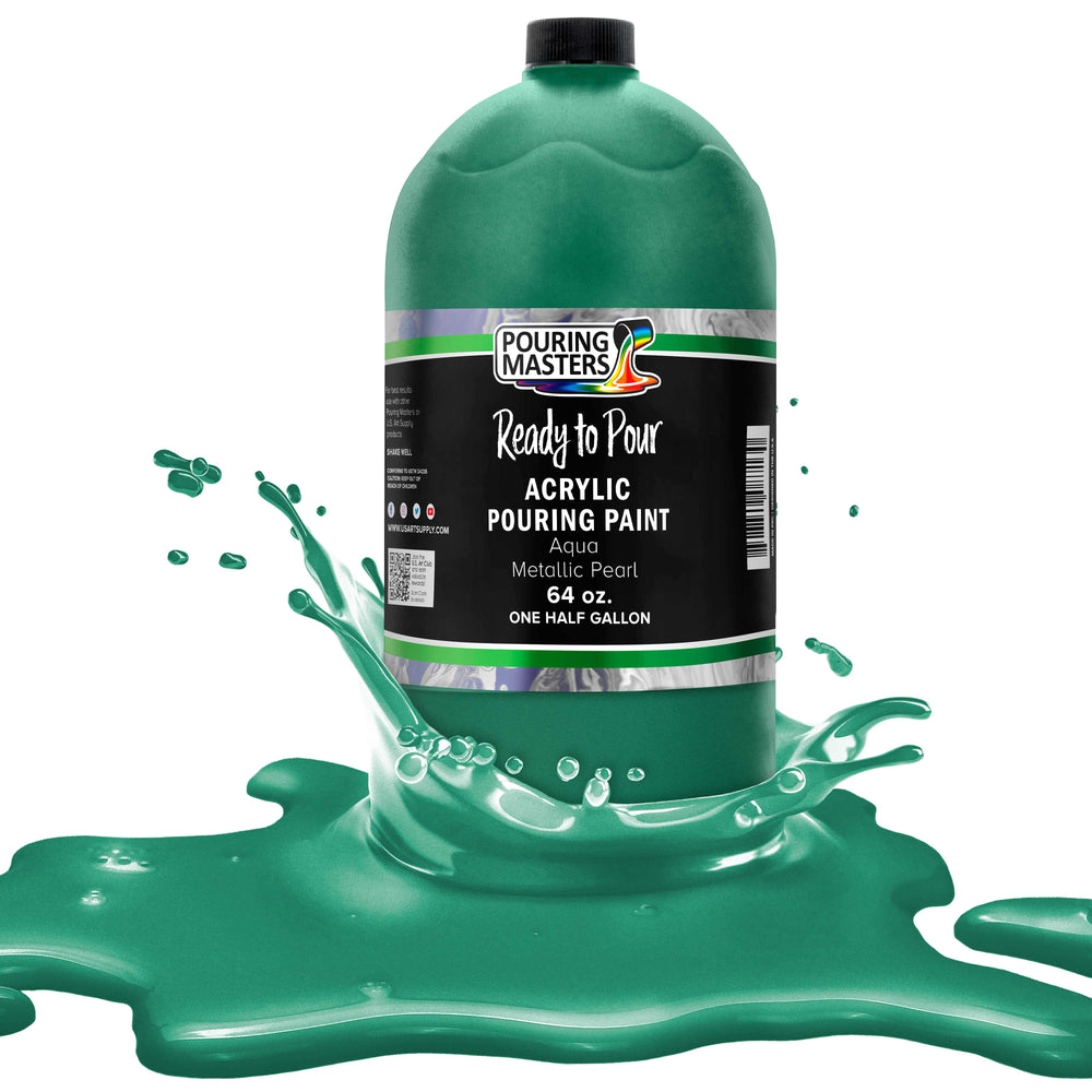 Aqua Metallic Pearl Acrylic Ready to Pour Pouring Paint - Premium 64-Ounce Pre-Mixed Water-Based - For Canvas, Wood, Paper, Crafts, Tile, Rocks and more