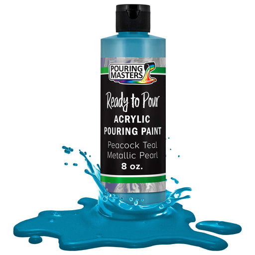 Peacock Teal Metallic Pearl Acrylic Ready to Pour Pouring Paint Premium 8-Ounce Pre-Mixed Water-Based - for Canvas, Wood, Paper, Crafts, Tile, Rocks and More