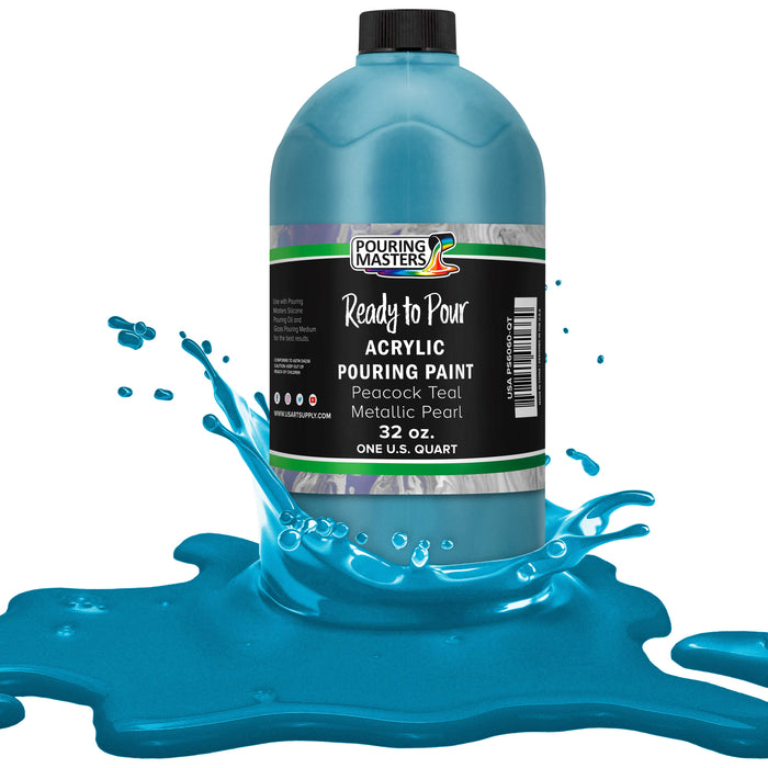 Peacock Teal Metallic Pearl Acrylic Ready to Pour Pouring Paint ? Premium 32-Ounce Pre-Mixed Water-Based - for Canvas, Wood, Paper, Crafts, Tile, Rocks and More