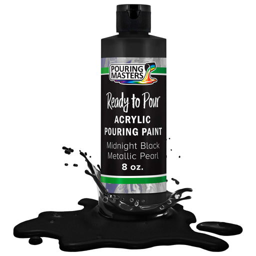 Midnight Black Metallic Pearl Acrylic Ready to Pour Pouring Paint Premium 8-Ounce Pre-Mixed Water-Based - for Canvas, Wood, Paper, Crafts, Tile, Rocks and More