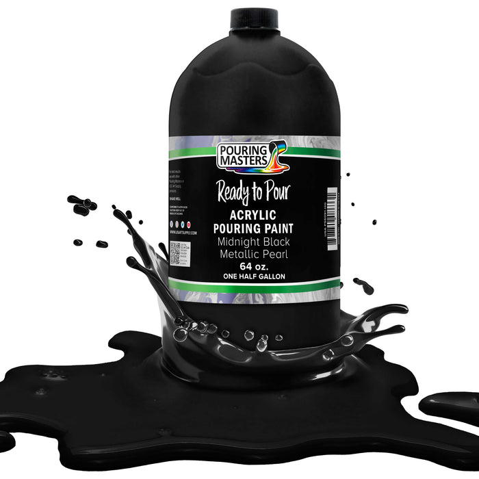 Midnight Black Metallic Pearl Acrylic Ready to Pour Pouring Paint Premium 64-Ounce Pre-Mixed Water-Based - for Canvas, Wood, Paper, Crafts, Tile, Rocks and More