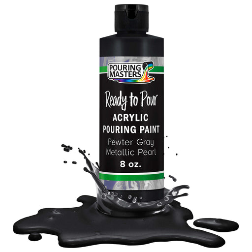 Pewter Gray Bark Metallic Pearl Acrylic Ready to Pour Pouring Paint - Premium 8-Ounce Pre-Mixed Water-Based - For Canvas, Wood, Paper, Crafts, Tile, Rocks and more
