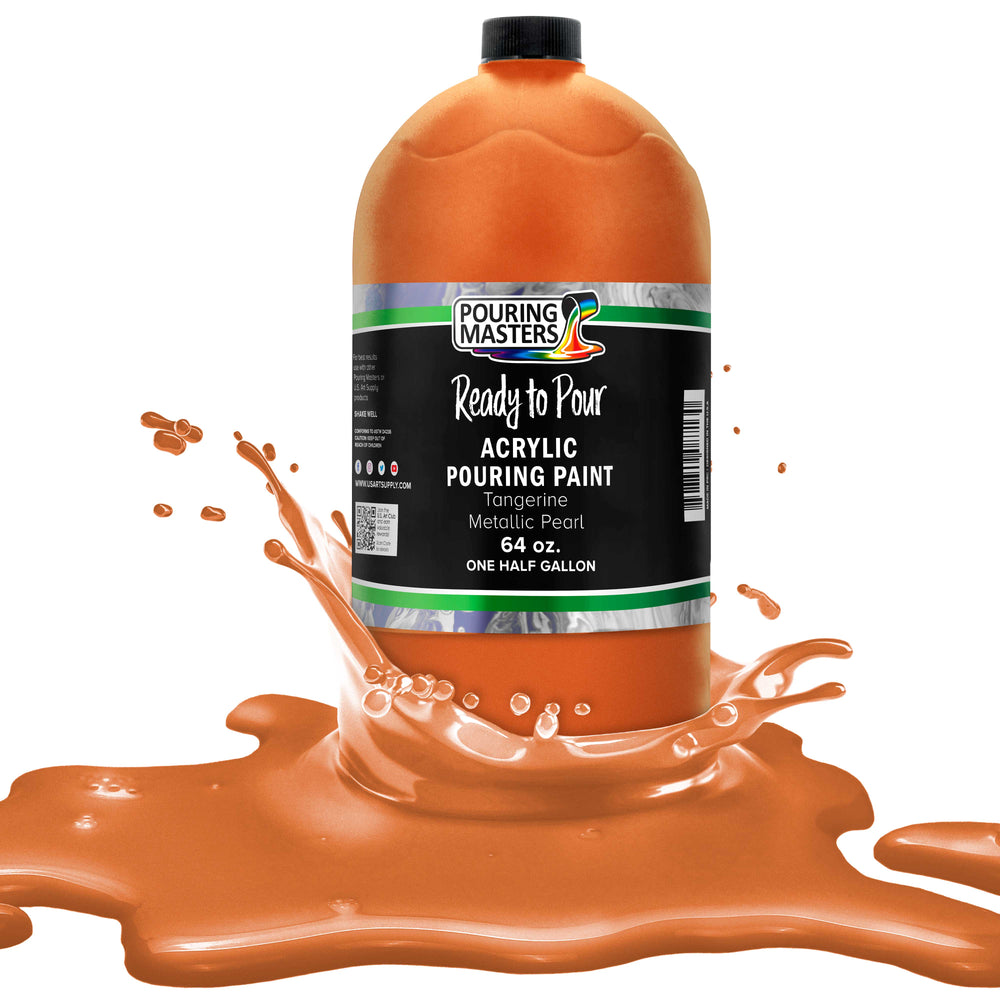 Tangerine Metallic Pearl Acrylic Ready to Pour Pouring Paint - Premium 64-Ounce Pre-Mixed Water-Based - For Canvas, Wood, Paper, Crafts, Tile, Rocks and more