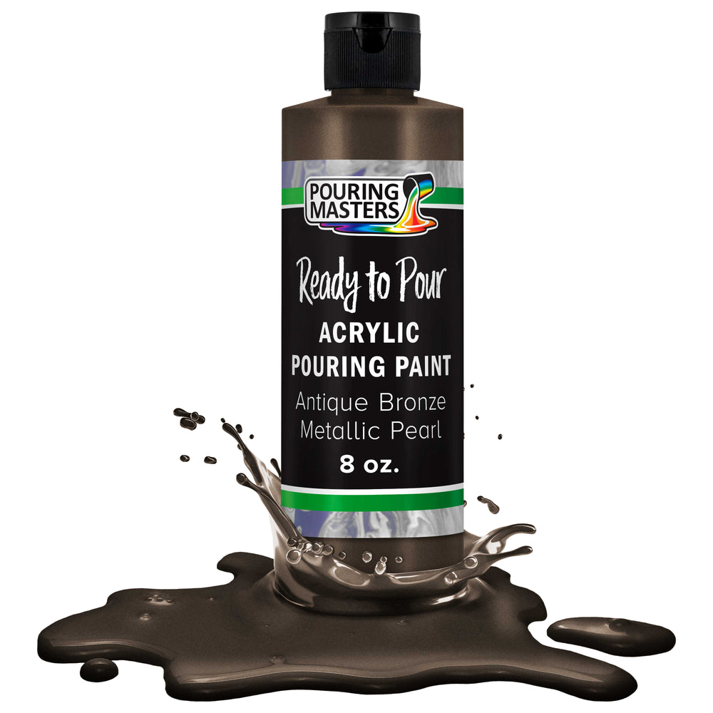 Antique Bronze Metallic Pearl Acrylic Ready to Pour Pouring Paint - Premium 8-Ounce Pre-Mixed Water-Based - For Canvas, Wood, Paper, Crafts, Tile, Rocks and more
