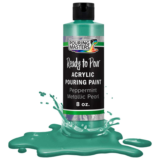 Peppermint Metallic Pearl Acrylic Ready to Pour Pouring Paint - Premium 8-Ounce Pre-Mixed Water-Based - For Canvas, Wood, Paper, Crafts, Tile, Rocks and more