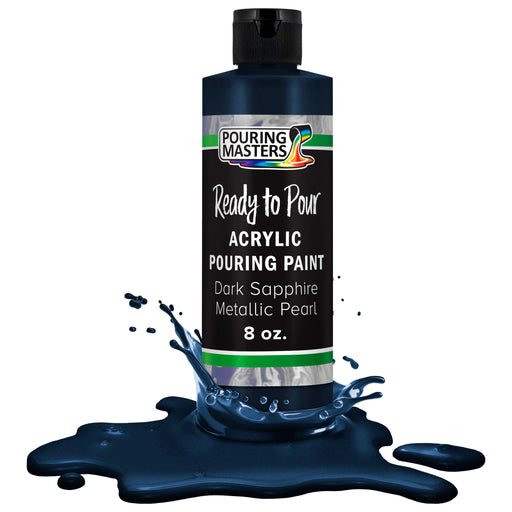 Dark Sapphire Blue Metallic Pearl Acrylic Ready to Pour Pouring Paint - Premium 8-Ounce Pre-Mixed Water-Based - For Canvas, Wood, Paper, Crafts, Tile, Rocks and more