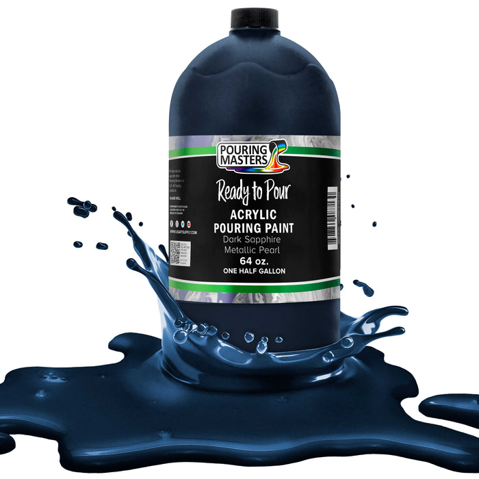 Dark Sapphire Blue Metallic Pearl Acrylic Ready to Pour Pouring Paint - Premium 64-Ounce Pre-Mixed Water-Based - For Canvas, Wood, Paper, Crafts, Tile, Rocks and more