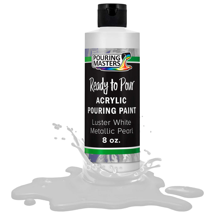 Luster White Metallic Pearl Acrylic Ready to Pour Pouring Paint Premium 8-Ounce Pre-Mixed Water-Based - for Canvas, Wood, Paper, Crafts, Tile, Rocks and More