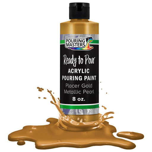 Placer Gold Metallic Pearl Acrylic Ready to Pour Pouring Paint - Premium 8-Ounce Pre-Mixed Water-Based - For Canvas, Wood, Paper, Crafts, Tile, Rocks and more