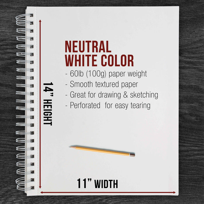 "11"" x 14"" Left Hand Spiral 60lb Sketch Drawing Pad (Pack of 2)"