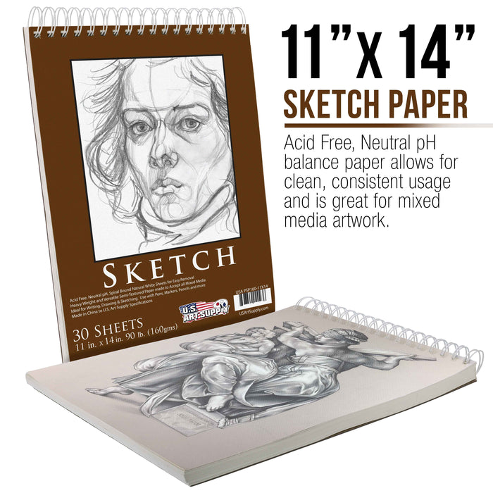 "11"" x 14"" Premium Heavy-Weight Paper Spiral Bound Sketch Pad, 90 Pound (160gsm), Pad of 30-Sheets (Pack of 2 Pads)"