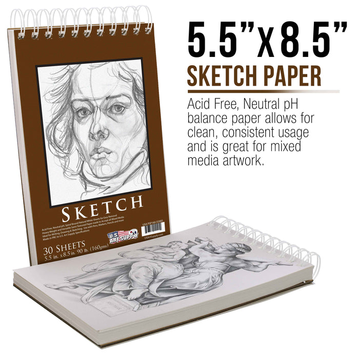 "5.5"" x 8.5"" Premium Heavy-Weight Paper Spiral Bound Sketch Pad, 90 Pound (160gsm), Pad of 30-Sheets (Pack of 2 Pads)"