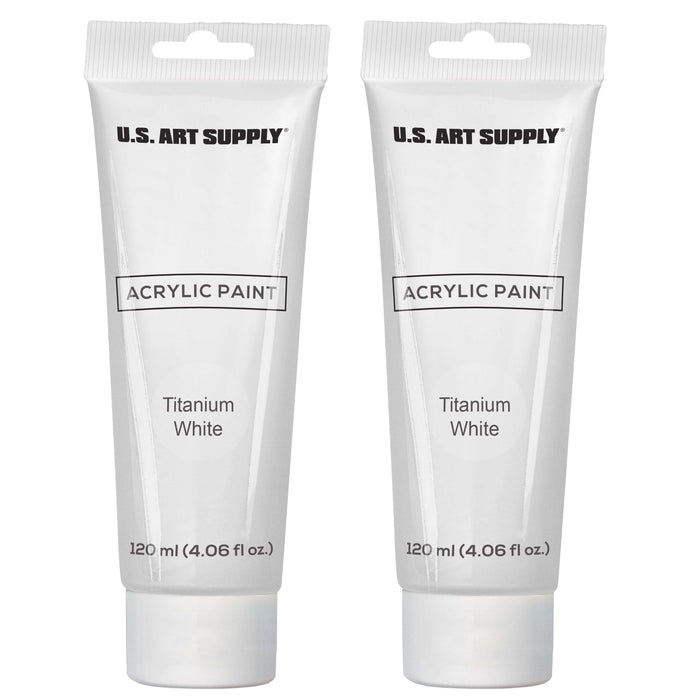 U.S. Art Supply Artists Acrylic Color Paint, Titanium White, 2 Extra-Large 120ml Tubes - Excellent Tinting Strength, Mixable, Portrait Painting Canvas