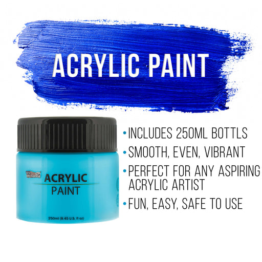 12 Color Acrylic Paint Jar Set 250ml Bottles (8.45 fl oz) - Professional Artist Bright Opaque Colors