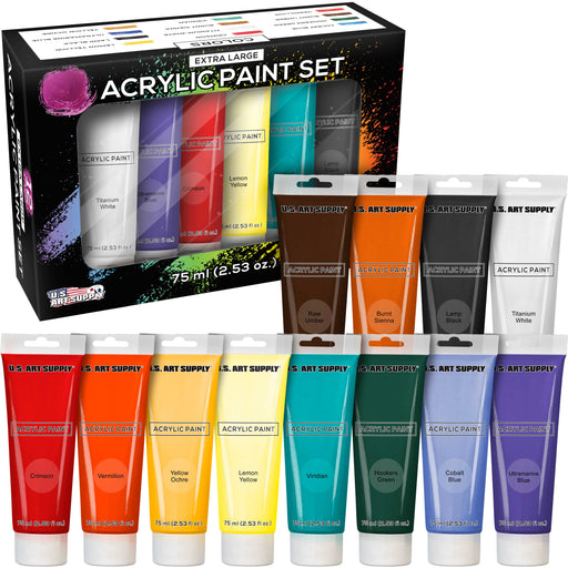 75ml Acrylic 12 - Color Paint Extra Large Tube Artist Painting Set