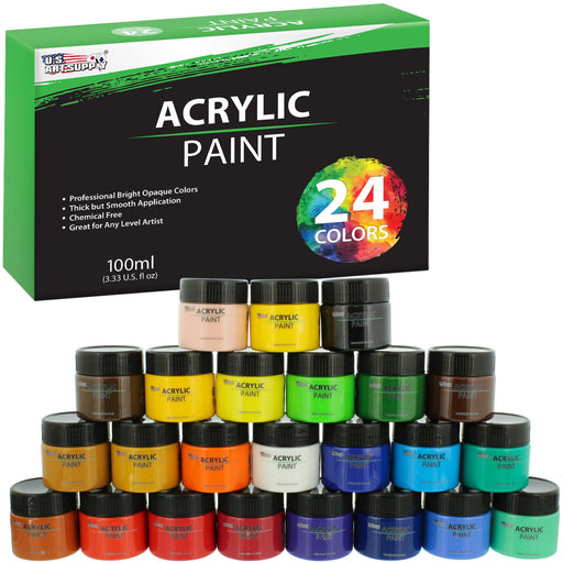 24 Color Acrylic Paint Jar Set 100ml Bottles (3.33 fl oz) - Professional Artist Bright Opaque Colors