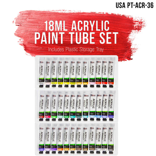 Professional 36 Color Set of Acrylic Paint in Large 18ml Tubes - Rich Vivid Colors for Artists, Students, Beginners - Canvas Portrait Paintings - Bonus Color Mixing Wheel
