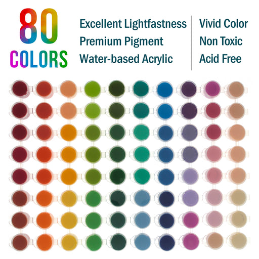 Professional 80 Color Set of Acrylic Paint Pot Set - 3.68mL Pots - Rich Vivid Colors for Artists, Students, Beginners - Canvas Portrait Paintings