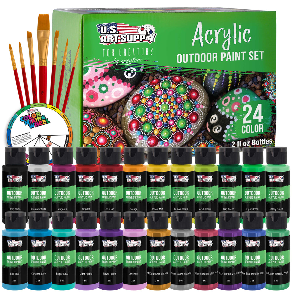 24 Color Outdoor Acrylic Paint Set - 2 fl. Oz. Flip Top Bottles Water Based Quick Drying