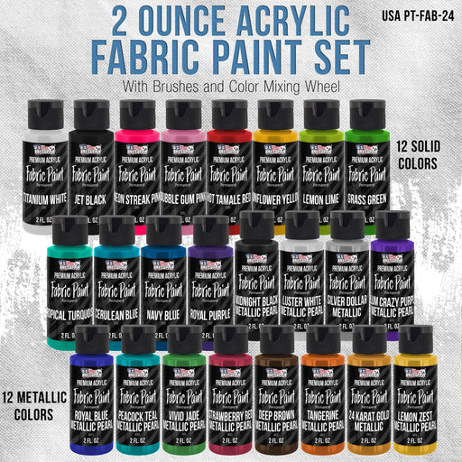 24 Color Set of Permanent Acrylic Fabric Paint in 2 Ounce Bottles, Plus 7 Brushes - Artists Textile for Clothes, Denim, Canvas, Jeans, T-Shirts, Shoes