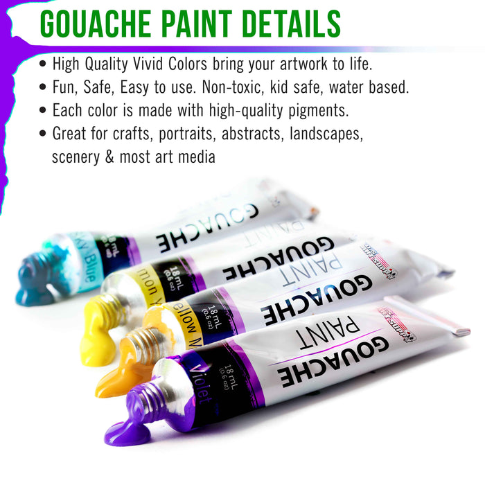 Professional 36 Color Set of Gouache Paint in Large 18ml Tubes - Bonus Color Mixing Wheel