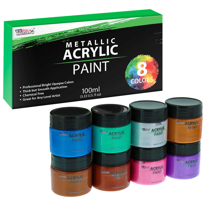 8 Color Metallic Acrylic Paint Jar Set 100ml Bottles (3.33 fl oz) - Professional Artist Bright Opaque Colors