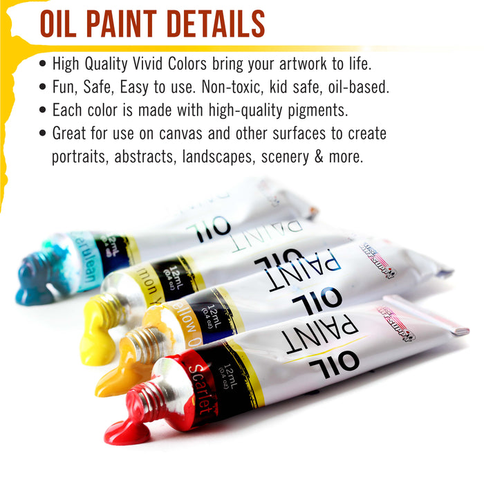 Professional 36 Color Set of Art Oil Paint in Large 18ml Tubes - Rich Vivid Colors for Artists, Students, Beginners - Canvas Portrait Paintings - Bonus Color Mixing Wheel