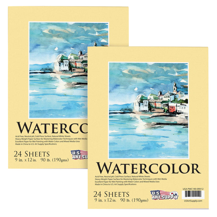"9"" x 12"" Premium Extra Heavy-Weight Watercolor Painting Paper Pad, 90 Pound (190gsm), Pad of 24-Sheets (Pack of 2 Pads)"