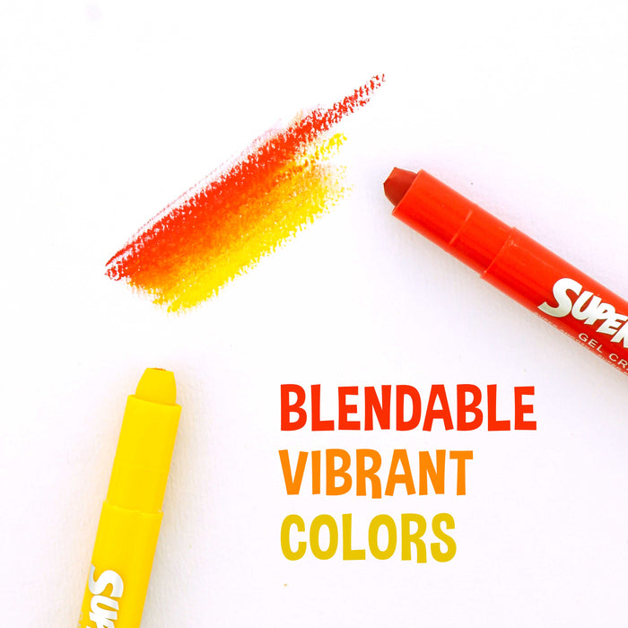Super Crayons Set of 36 Colors - Smooth Easy Glide Gel Crayons - Bright, Blendable and Washable