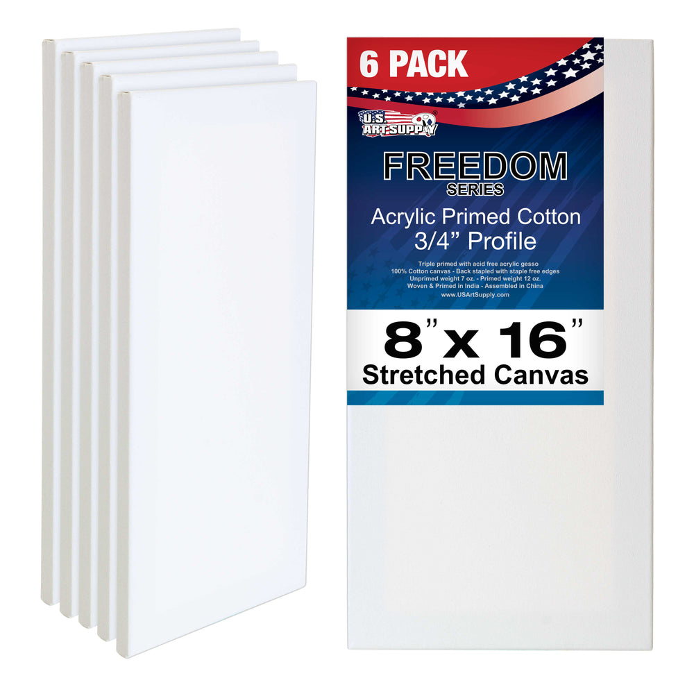 "8"" x 16"" Professional Quality Acid Free Stretched Canvas 6-Pack - 3/4 Profile 12 Ounce Primed Gesso"