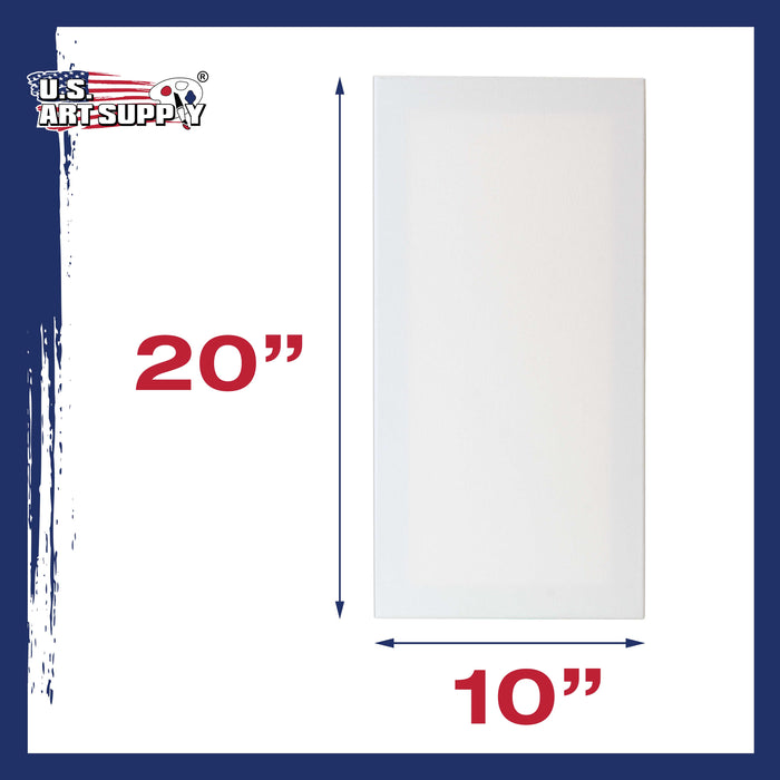 "10"" x 20"" Professional Quality Acid Free Stretched Canvas 6-Pack - 3/4 Profile 12 Ounce Primed Gesso"