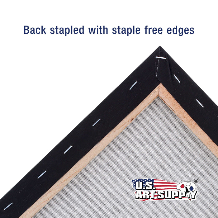 "16"" x 20"" Black Professional Quality Acid Free Stretched Canvas 4-Pack - 3/4 Profile 12 Ounce Primed Gesso"