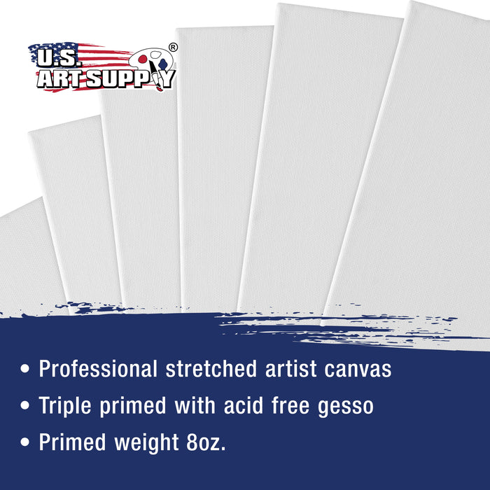 "16"" x 20"" Super Value Quality Acid Free Stretched Canvas 5-Pack - 3/4 Profile Primed Gesso"