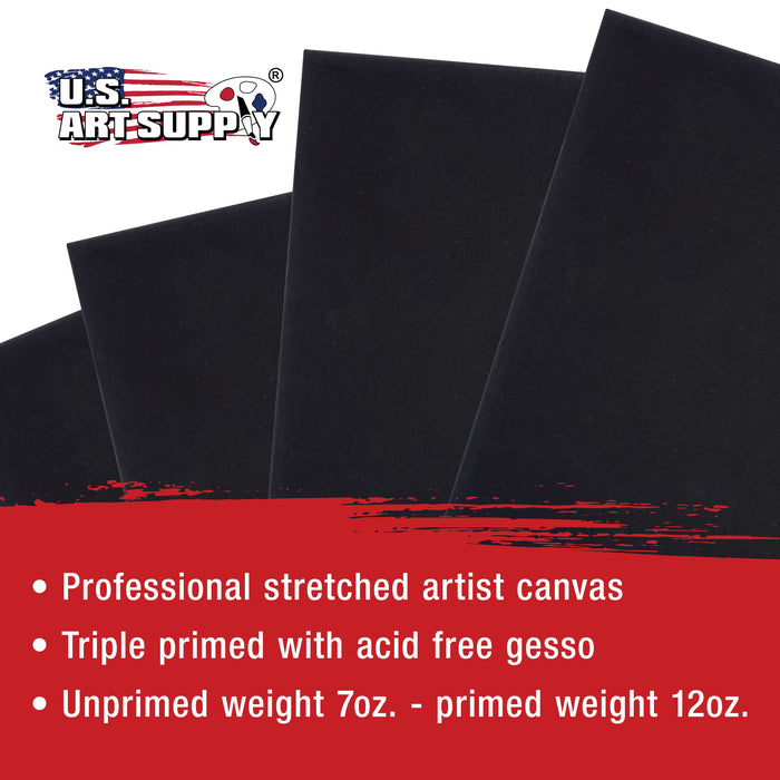 "18"" x 24"" Black Professional Quality Acid Free Stretched Canvas 4-Pack - 3/4 Profile 12 Ounce Primed Gesso"
