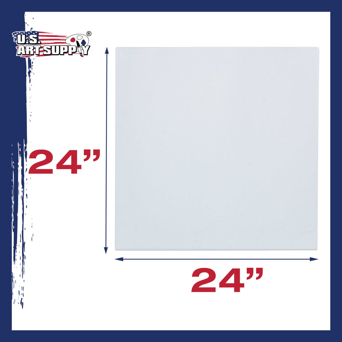 "24 x 24 inch Stretched Canvas 12-Ounce Primed 6-Pack - Professional White Blank 3/4"" Profile Heavy-Weight Gesso Acid Free Bulk Pack - Painting, Acrylic Pouring, Oil Paint"